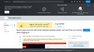 Quora says account with email address already exists, but can't ...