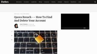 Quora Breach -- How To Find And Delete Your Account - Forbes