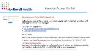 Northwell Health Remote Access Portal (RAP)