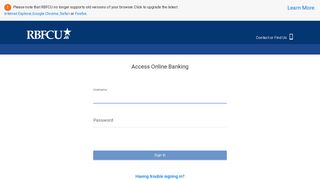 sign in to your online banking account - RBFCU