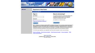 Welcome to the California Department of Real Estate's eLicensing ...