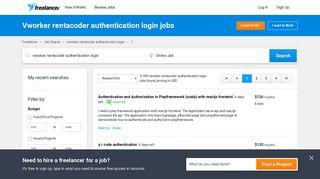 Vworker rentacoder authentication login Jobs, Employment | Freelancer