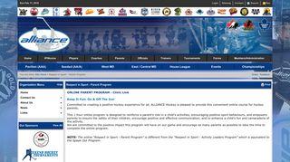 Respect in Sport - Parent Program (Minor Hockey Alliance of Ontario)