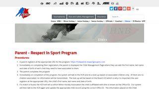 Hockey New Brunswick - Parent Respect In Sport Program