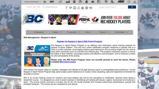 Respect in Sport Parent Program - BC Hockey