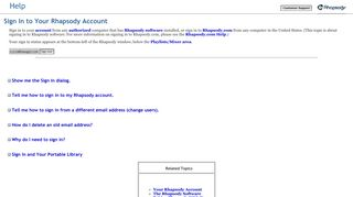 Sign In to Your Rhapsody Account