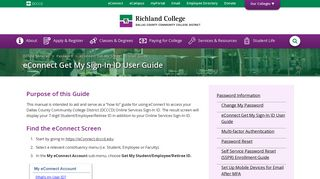 eConnect Get My Sign-In ID User Guide : Richland College