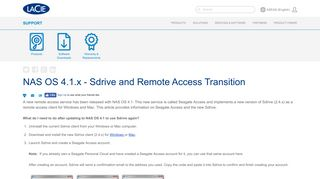 NAS OS 4.1.x - Sdrive and Remote Access Transition | Seagate Support