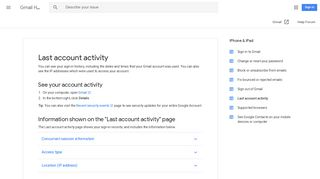 Last account activity - Gmail Help - Google Support