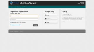 Login to the support portal - Select Home Warranty