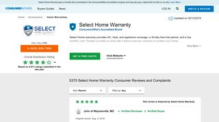 Top 5,192 Reviews and Complaints about Select Home Warranty