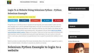 Login To A Website Using Selenium Python - Python Selenium ...