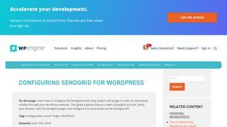 Configuring Sendgrid for WordPress   WP Engine®