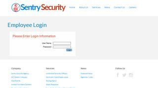 Employee Login - Sentry Security