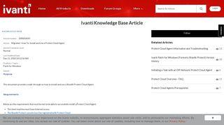 customer article view - Ivanti Community Announcements