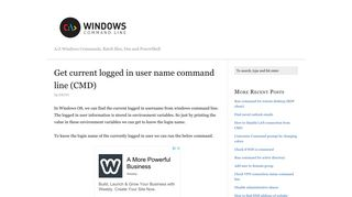 Get current logged in user name command line (CMD)