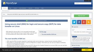 Using secure shell (SSH) for login and secure copy (SCP) for data ...