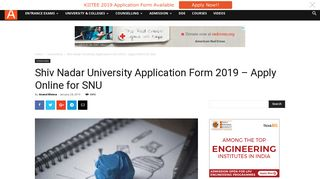 Shiv Nadar University Application Form 2019 - Apply Online for SNU ...