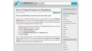 How to Upload Products to ShopMania - Free Webstore Help Guide