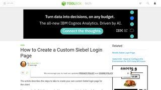 How to Create a Custom Siebel Login Page - IT Toolbox