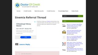 Sinemia Referral Thread - Doctor Of Credit