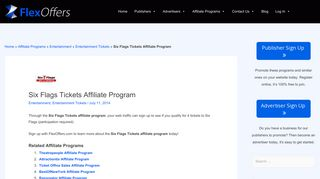 Six Flags Tickets Affiliate Program   FlexOffers.com Affiliate Programs