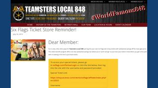 Six Flags Ticket Store Reminder! - Teamsters Local 848