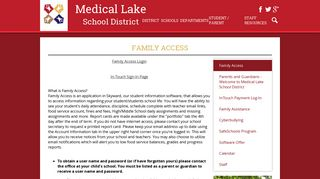 Family Access – Parent & Guardian Info – Medical Lake School District