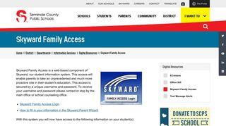Skyward Family Access | Seminole County Public Schools