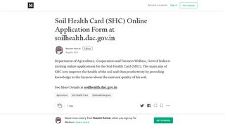 Soil Health Card (SHC) Online Application Form at soilhealth.dac.gov.in