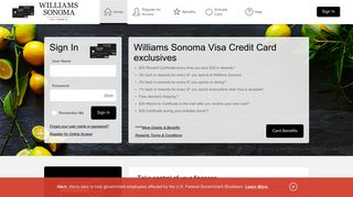 Williams Sonoma Visa Credit Card - Manage your account - Comenity
