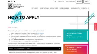 How to apply | Havant & South Downs College | HSDC