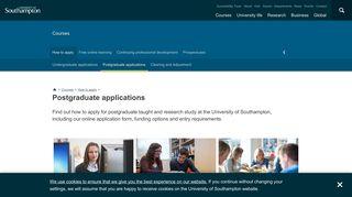 Postgraduate applications | University of Southampton