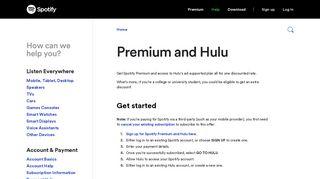 Premium and Hulu - Spotify