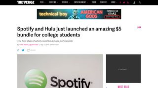 Spotify and Hulu just launched an amazing $5 bundle for college ...
