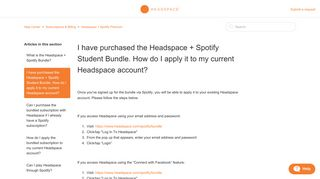 I have purchased the Headspace + Spotify Student Bundle. How do I ...