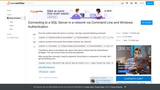 Connecting to a SQL Server in a network via Command Line and ...