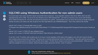 SQLCMD using Windows Authentication for non-admin users