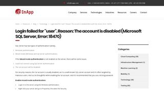 """Login failed for """"user"""". Reason: The account is disabled (Microsoft ..."""
