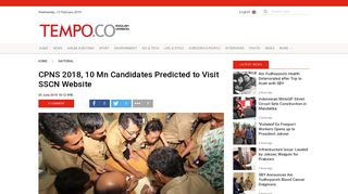 CPNS 2018, 10 Mn Candidates Predicted to Visit SSCN Website ...