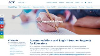 Testing Accommodations   The ACT Test   ACT