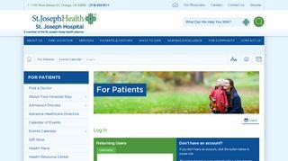 Log In   St. Joseph Hospital - Orange County Hospital Patients