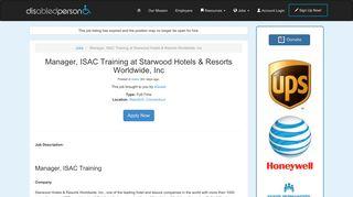 Manager, ISAC Training at Starwood Hotels & Resorts Worldwide, Inc ...