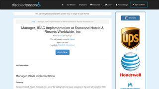 Manager, ISAC Implementation at Starwood Hotels & Resorts ...