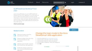 Change the login mode in the Xora StreetSmart web application - AT&T