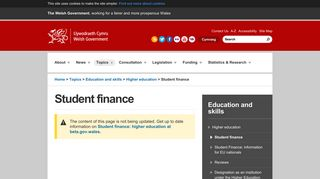 Welsh Government | Student finance
