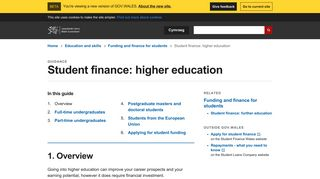 Student finance: higher education | beta.gov.wales