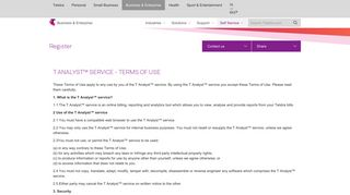 T Analyst™ Service - Terms of Use - Telstra