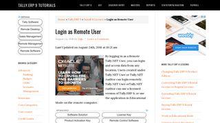 Login as Remote User - Tally.ERP 9 tutorials