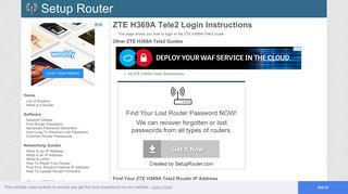 How to Login to the ZTE H369A Tele2 - SetupRouter